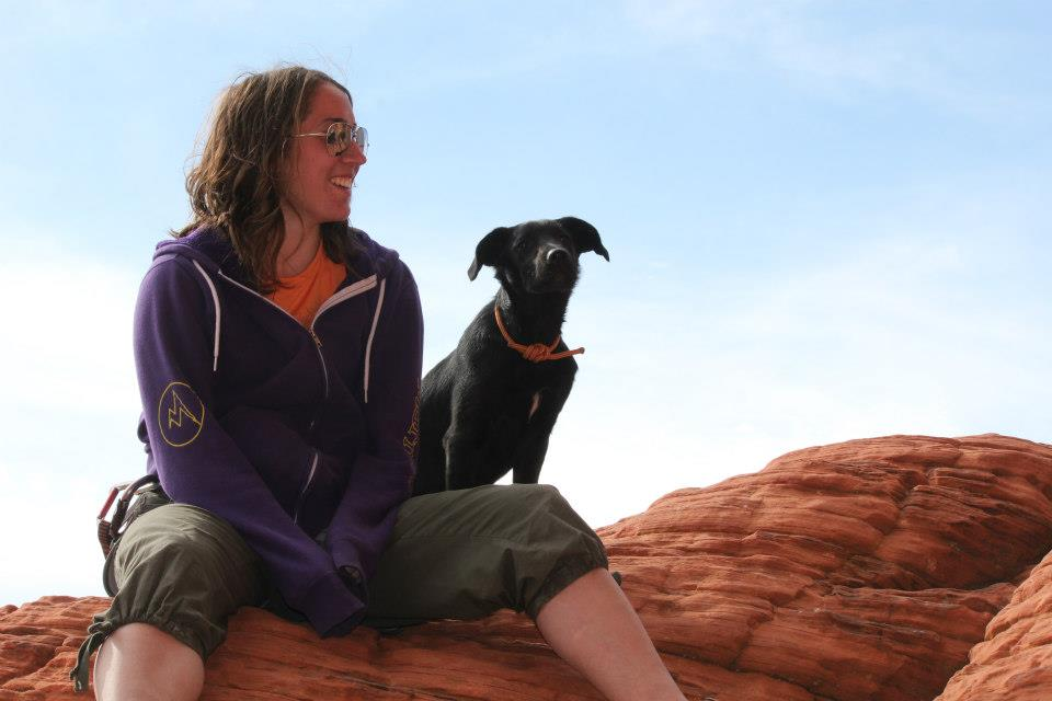 We be chillin' in Red Rock Canyon, Nevada. I swear it was a 5.5 slab climb to get up here, so yah, my dog is  a rock climber too.