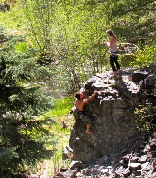 Hula hoopin'-rock climbing adventure duo.